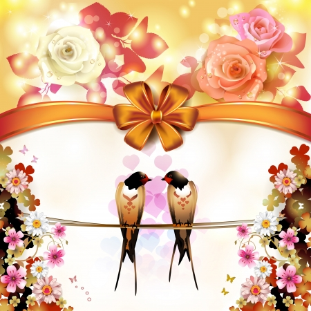 Two swallows with hearts and flowers Stock Vector - 17208281