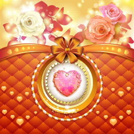 Valentine s day card with hearts and roses Stock Vector - 17208246