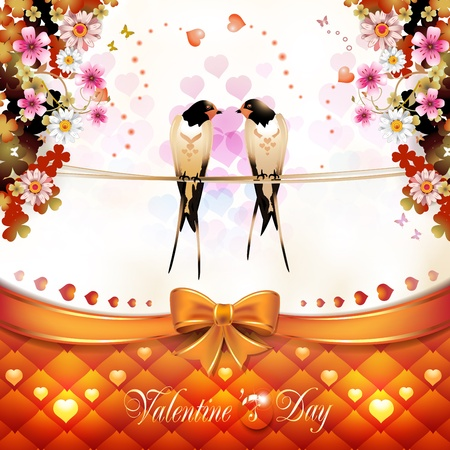 Valentine s day card with two swallows hearts and flowers Stock Vector - 17208262