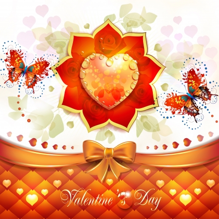 Valentine s day card with hearts and butterflies Stock Vector - 17208300