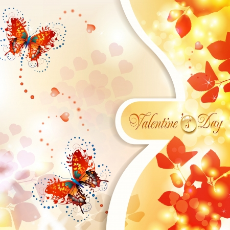 Valentine s day card with hearts and butterflies Stock Vector - 17610624