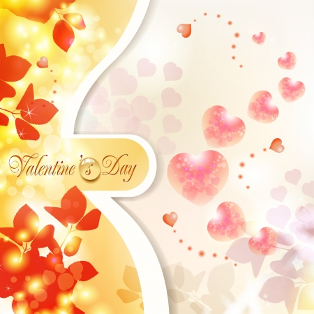 Romantic background for Valentine s day with hearts Stock Vector - 17610617