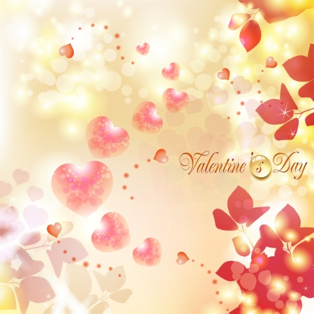 Romantic background for Valentine s day with hearts Stock Vector - 17610623