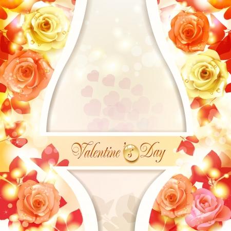 Valentine s dag kaart met hartjes en rozen