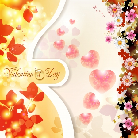 Valentine s day card with hearts and flowers Stock Vector - 17610627