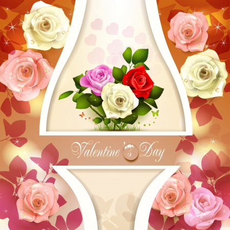 Valentine s day card with hearts and roses Stock Vector - 17610684