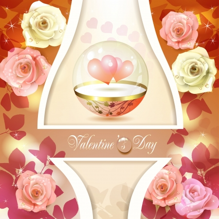 Valentine s day card with hearts and roses Stock Vector - 17610665