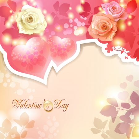 Valentine s day card with hearts and roses Stock Vector - 17610653