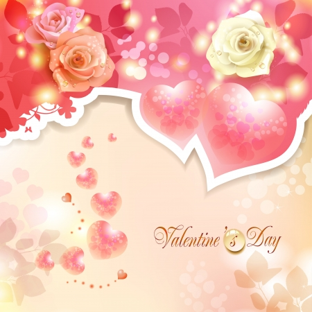 Valentine s day card with hearts and lilies Stock Vector - 17610660