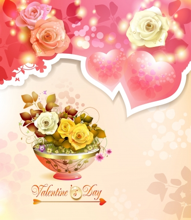 Valentine s day card with hearts and roses Stock Vector - 17610680