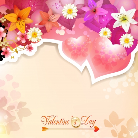 Valentine s day card with hearts and lilies Stock Vector - 17610667