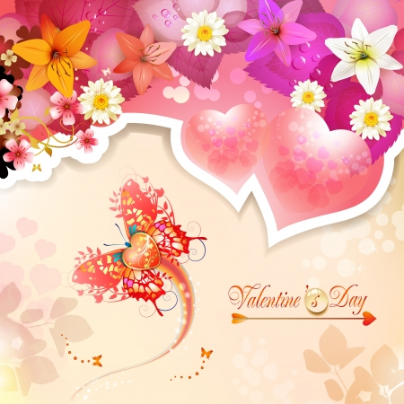 Valentine s day card with hearts, butterflies and lilies Vector