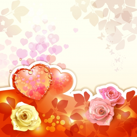 Valentine s day card with hearts and roses Stock Vector - 17610655