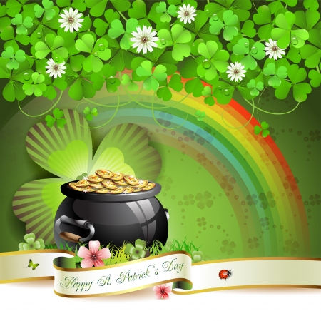 Saint Patrick s Day greeting card with pot, coins and ribbon Vector