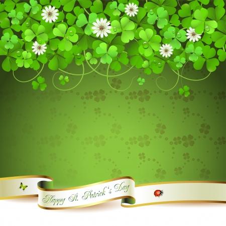 Groet van de Dag St. Patrick s kaart met klaver en lint Stock Illustratie