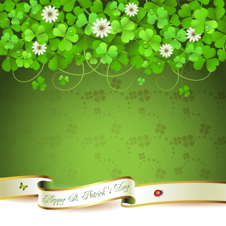 patrick banner: Saint Patrick s Day greeting card with clover and ribbon