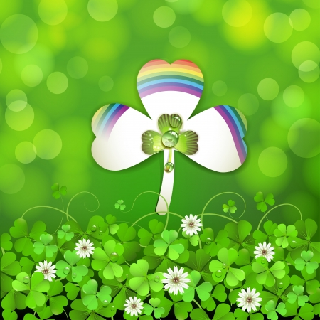saint patrick's day: Saint Patrick s Day background with clover