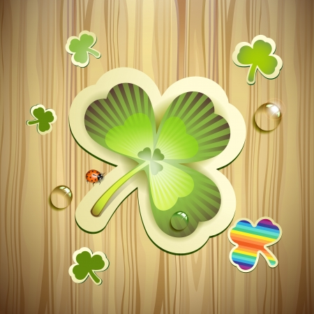 saint patrick's day: Saint Patrick s Day card with clover and wood background