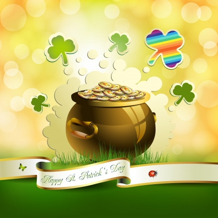 St  Patrick s Day card design with clover and coins Stock Vector - 17994554