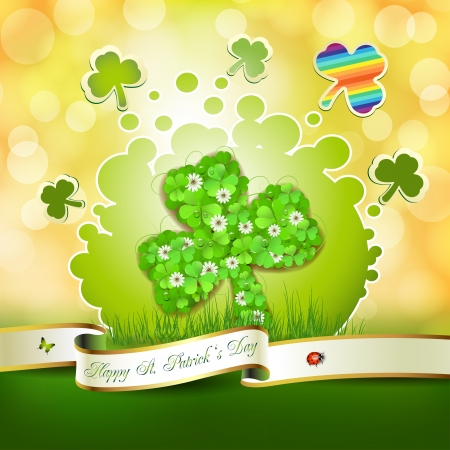 Saint Patrick s Day background with clover Vector