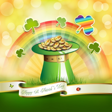 St  Patrick s Day card design with hat, clover and coins Stock Vector - 17994561