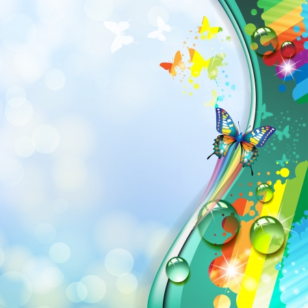 Colorful background with butterfly Illustration