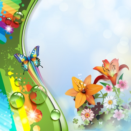 butterflies abstract: Background with lilies and butterflies