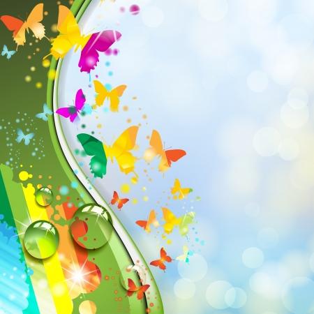 digital wave: Fondo multicolor con mariposa