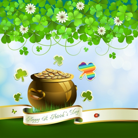 lucky day: Saint Patrick s Day greeting card with pot, coins and ribbon