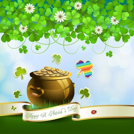 Saint Patrick's Day wenskaart met pot, munten en lint