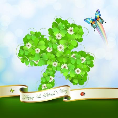 animal st  patricks day: Saint Patrick s Day background with clover