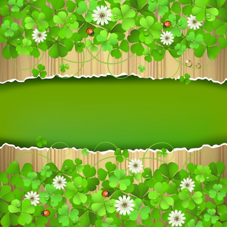 Wood background with clover and flowers Vector