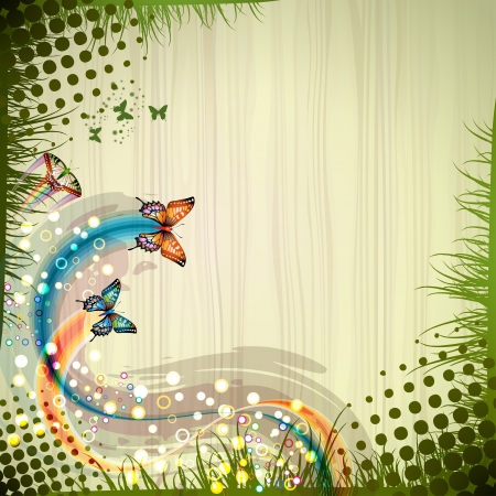 butterfly background: Background with butterflies and wood texture