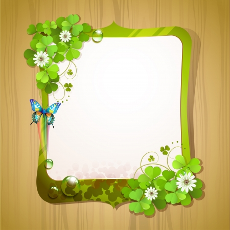Mirror frame with clover and butterfly over wood background Stock Vector - 18845956