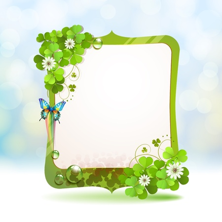 Mirror frame with clover and butterfly Stock Vector - 18845948