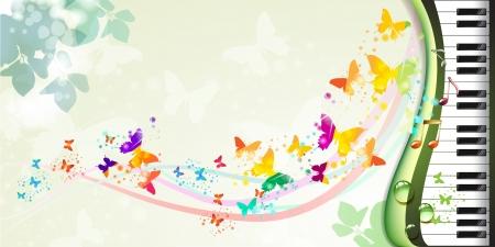 나비와 피아노 키와 함께 봄 배경