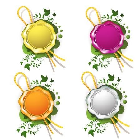 sealing: Multicolor sealing wax with decorative plant
