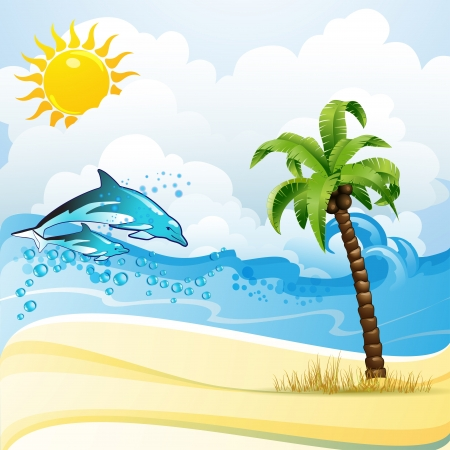 dolphin jumping: Beach with palm tree and dolphins