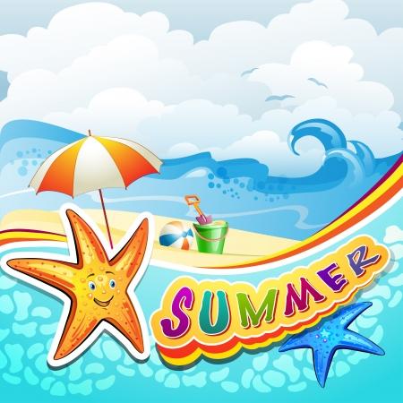 Zomer strand met zeester en speelgoed Stock Illustratie