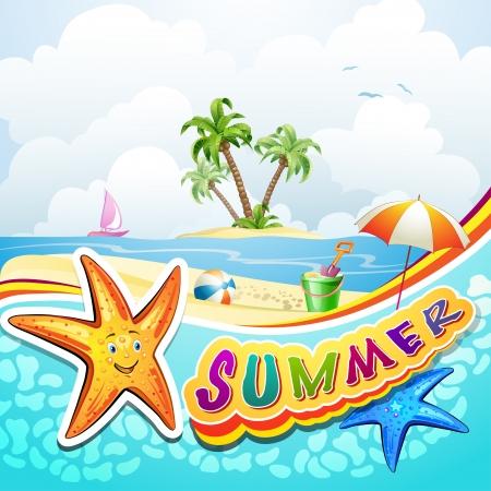 beach toys: Summer beach with starfish and toys