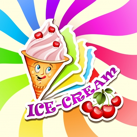 ice cream soft: Cherry ice cream cartoon