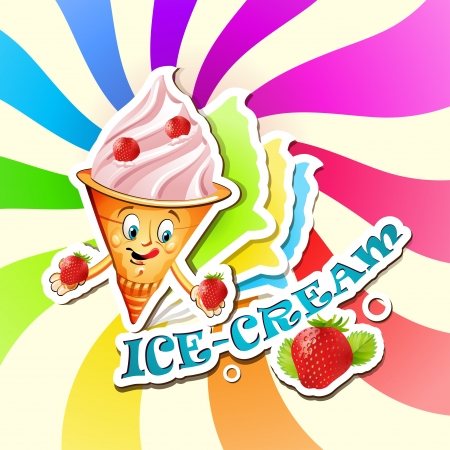 Strawberry ice cream cartoon Vector