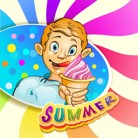 Cartoon little boy eating ice cream Vector