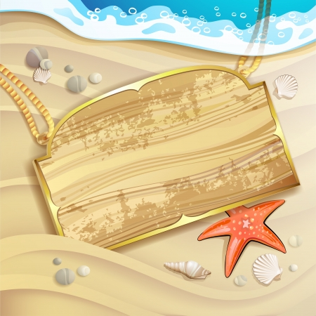 Wood banner over sand beach and shells Vector