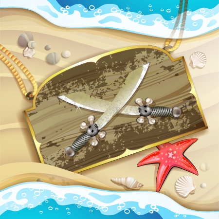 aged wood: Wood banner with pirate sword over sand beach  Illustration