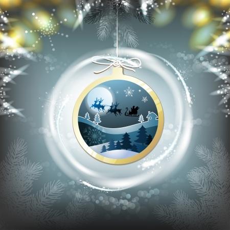 new yea: Santa sleigh in hanging ball shape