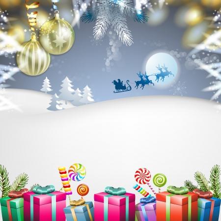 papa noel en trineo: Navidad con regalos y trineo de Santa