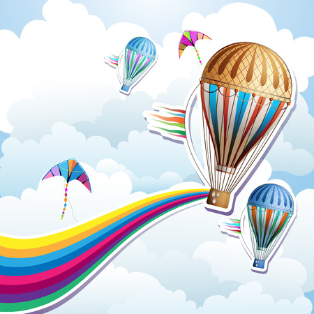 aloft: Colorful hot air balloon with silhouette background