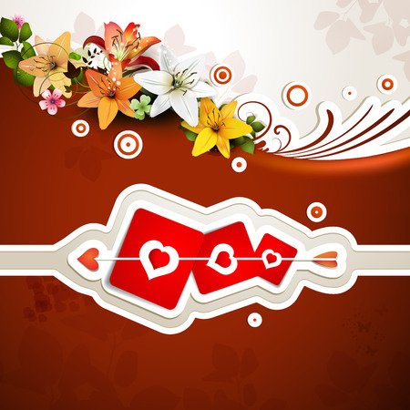 Valentine s day card with flowers and hearts Vector