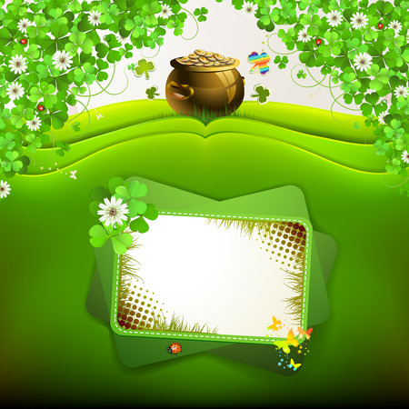 st  patrick's day: St  Patrick s Day card design with clover and coins